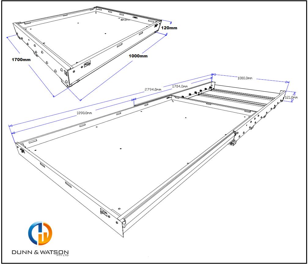 1700mm tub slide cad