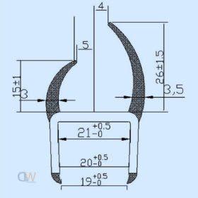 PVC 'H' Seal 21mm 3000mm Black 1