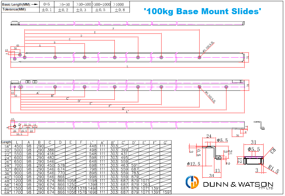 100kg hole centers cad drawing