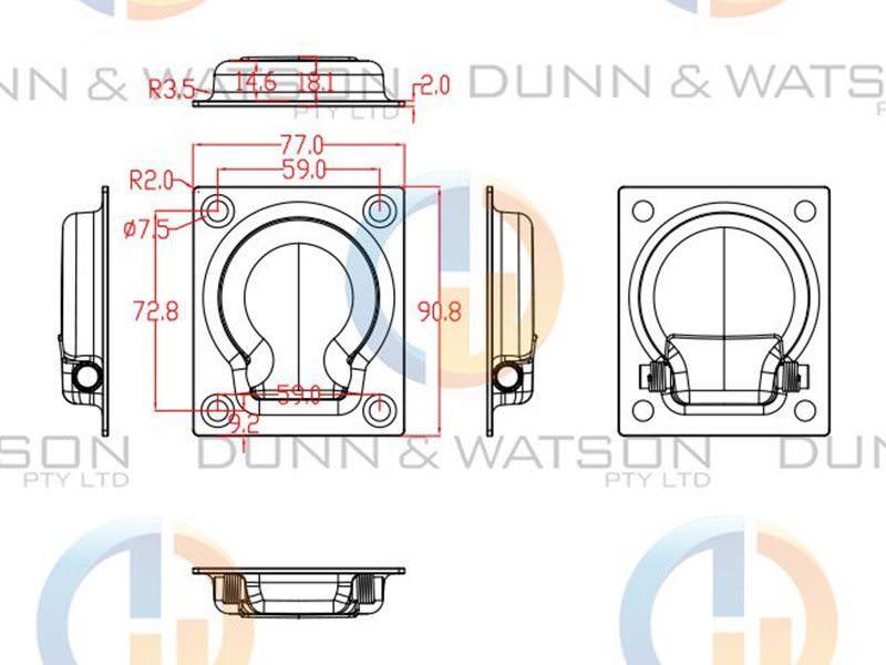 Recessed Stainless Steel Tie Down Medium 1
