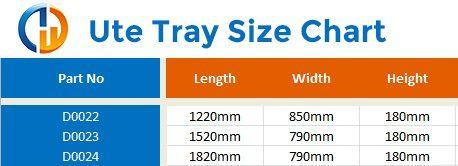 uder ute tray size chart