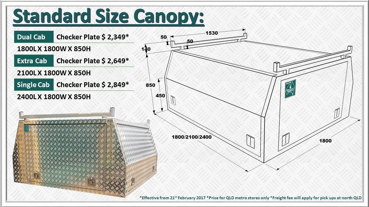Stock size canopy price