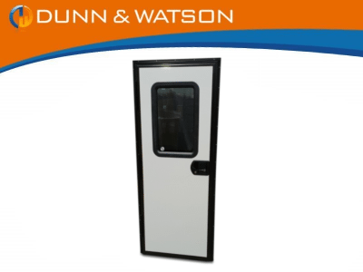 black frame square door with window