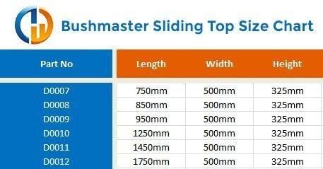 bushmaster sliding top size chart